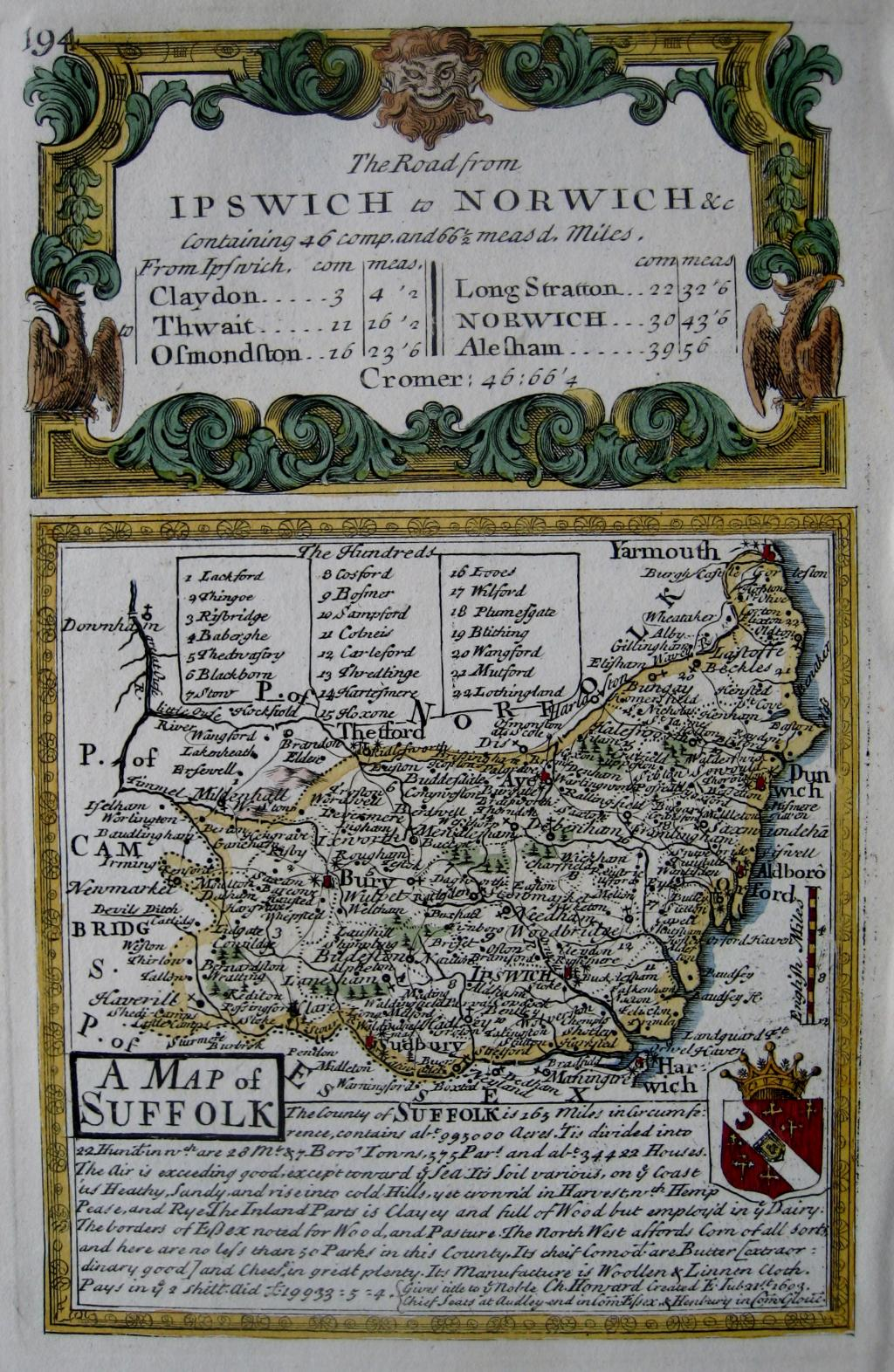SUFFOLK by EMANUEL BOWEN & JOHN OWEN c1720