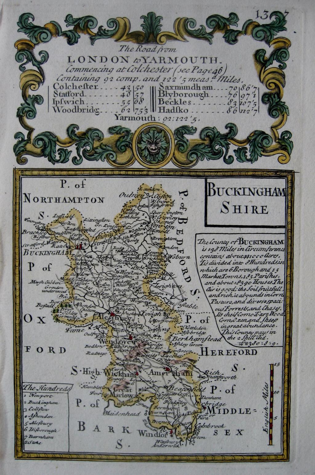 BUCKINGHAMSHIRE by EMANUEL BOWEN & JOHN OWEN c1720