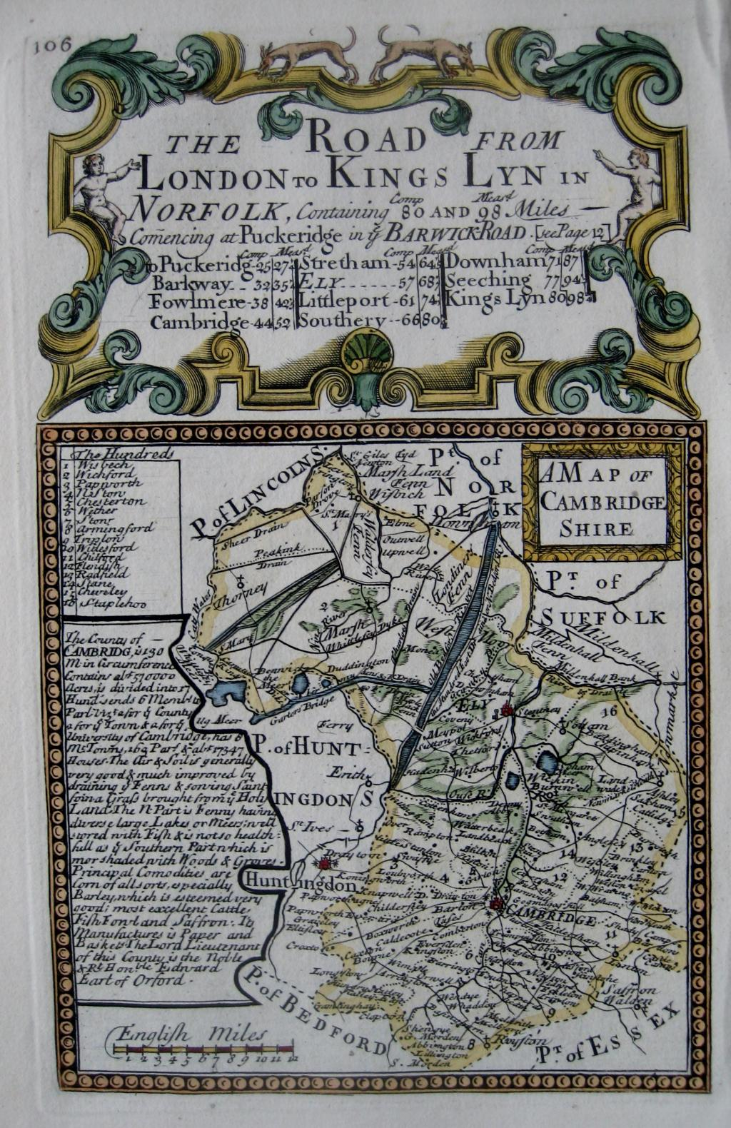 CAMBRIDGESHIRE by EMANUEL BOWEN & JOHN OWEN c1720