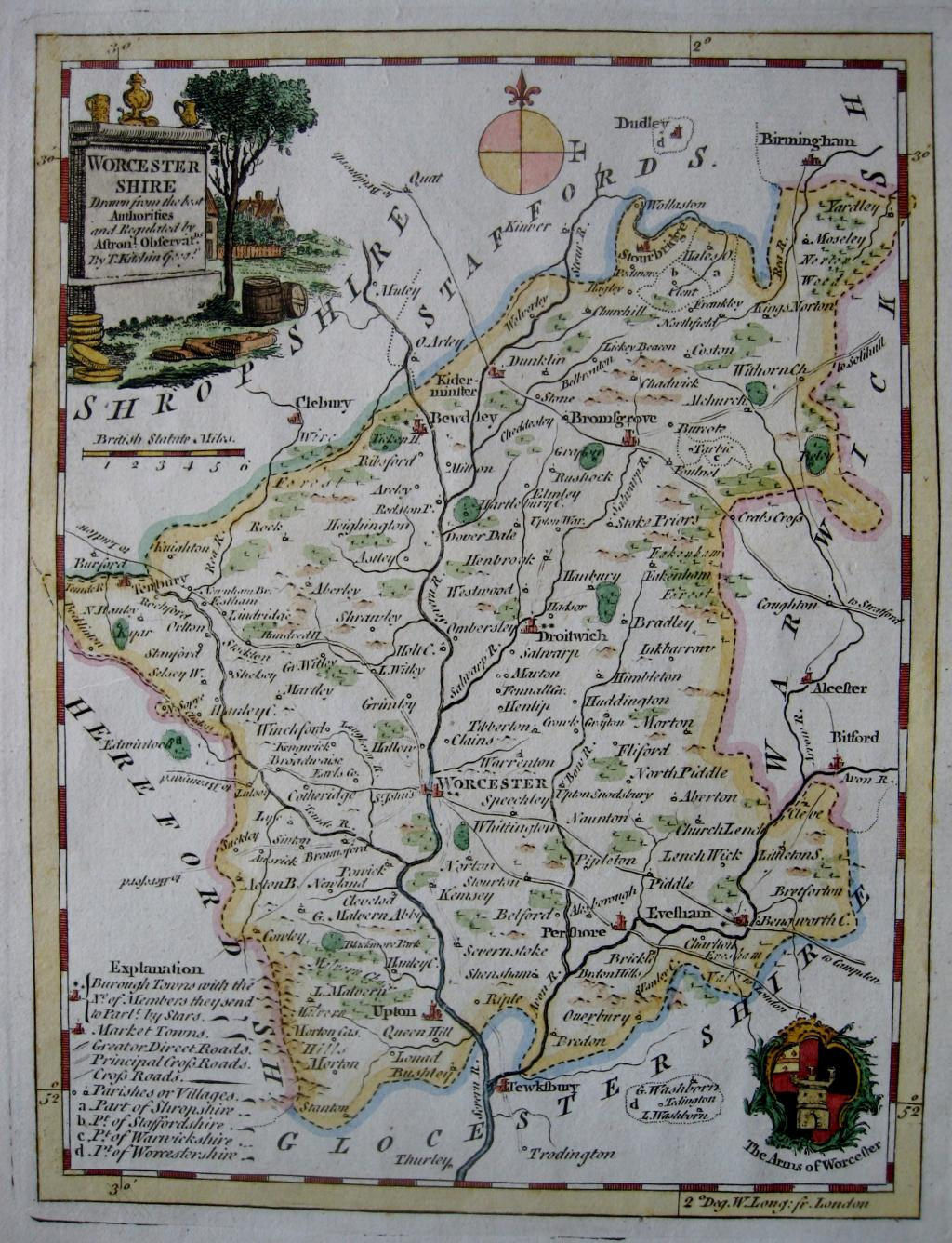 WORCESTERSHIRE by THOMAS KITCHIN c1780