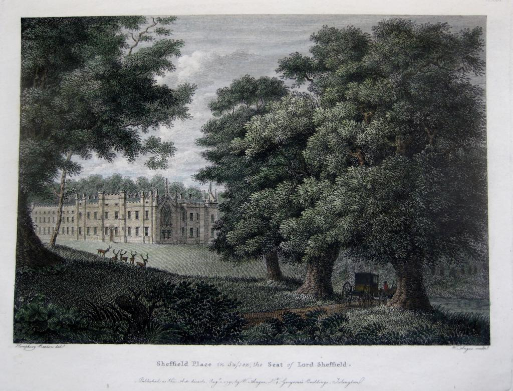 SHEFFIELD HOUSE  SUSSEX by W. ANGUS c1791