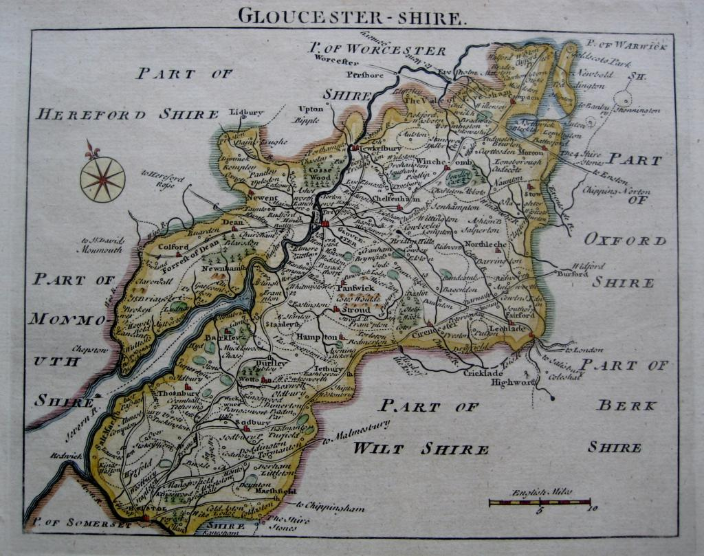 GLOUCESTERSHIRE by JOHN ROCQUE  c1753