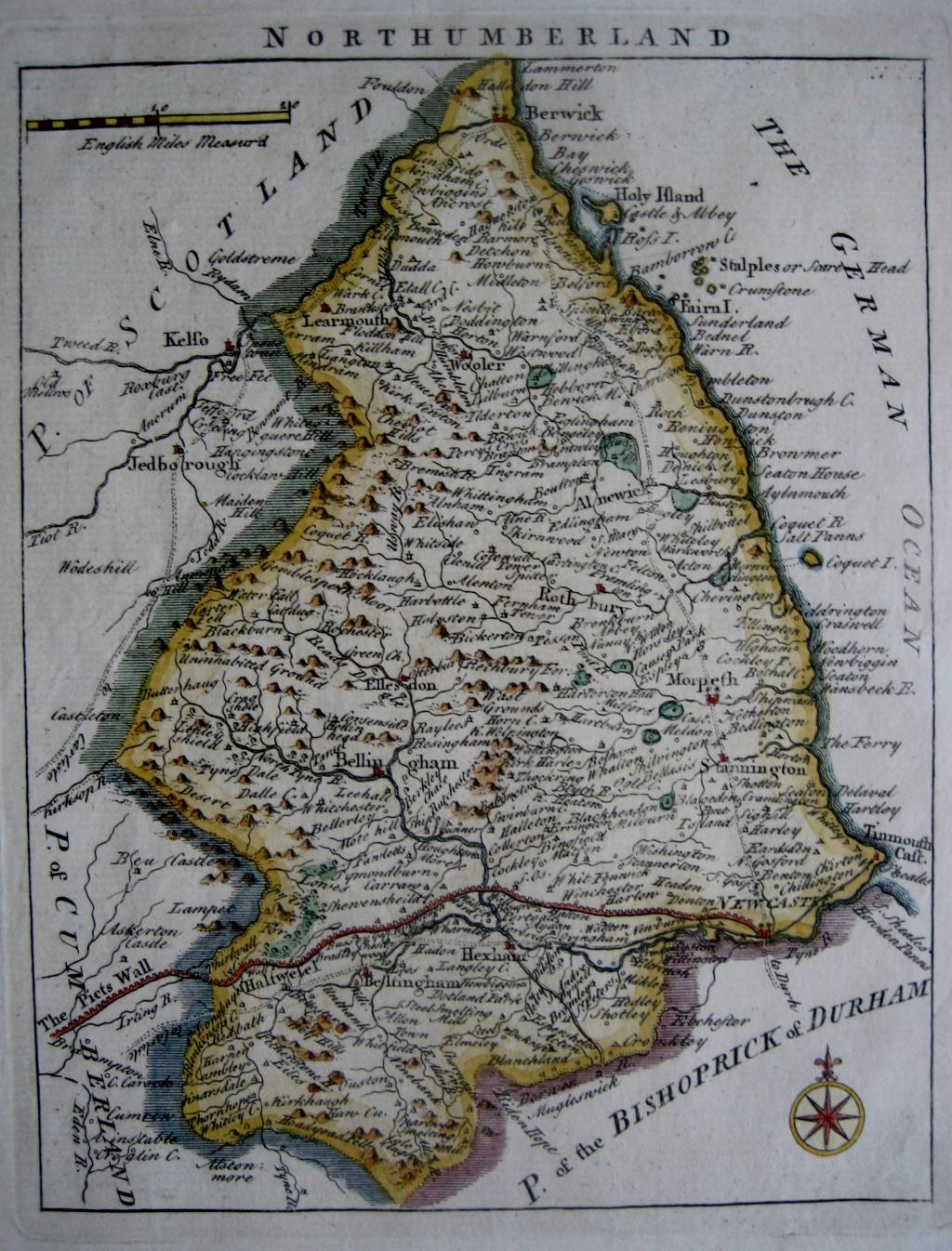 NORTHUMBERLAND by JOHN ROCQUE c1753