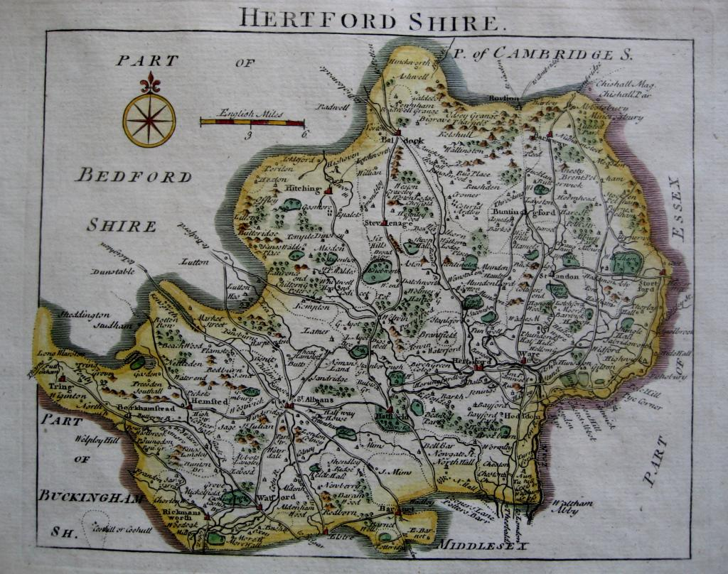 HERTFORDSHIRE by JOHN ROCQUE c1753