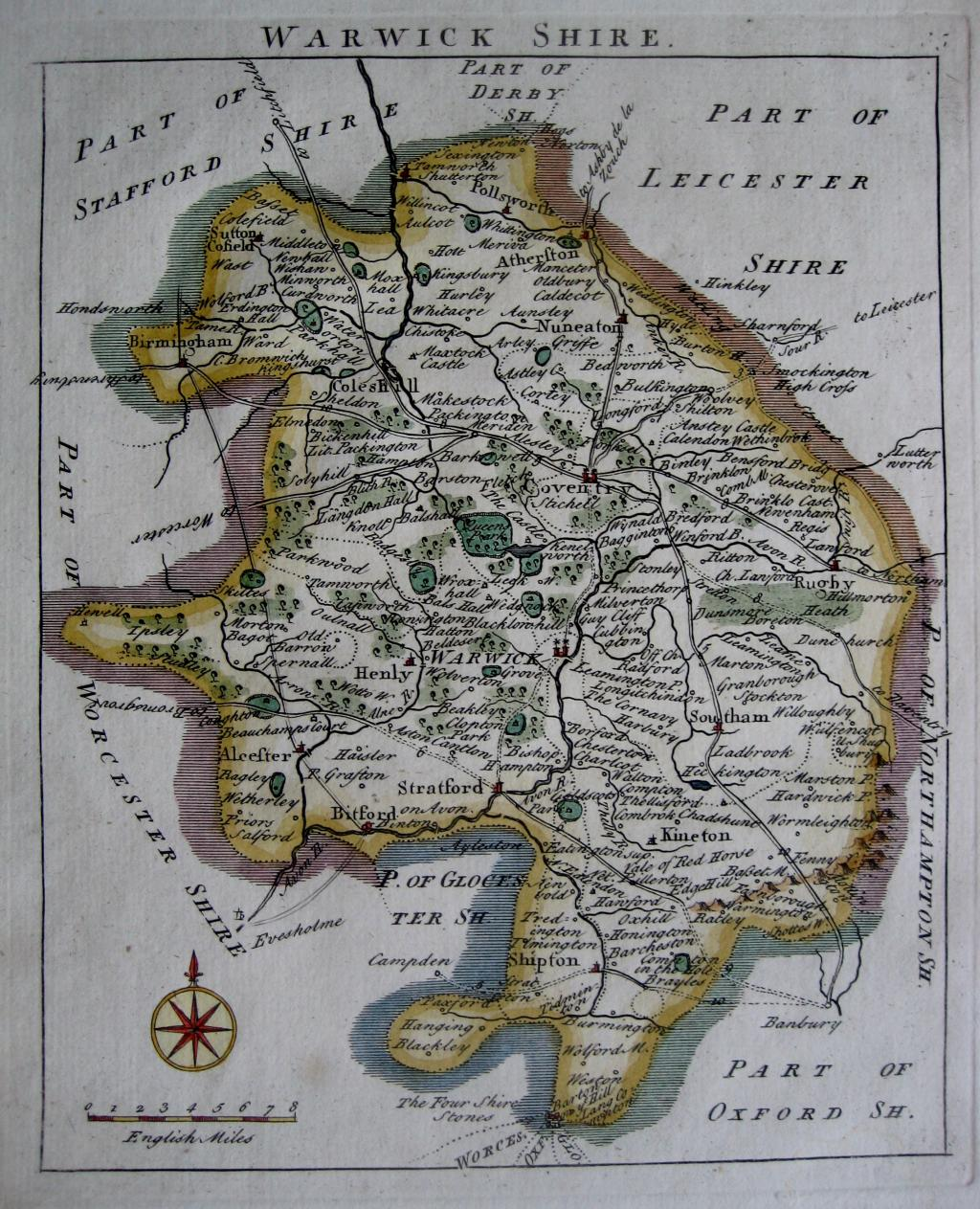 WARWICKSHIRE by JOHN ROCQUE c1753