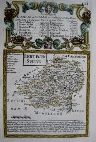 HERTFORDSHIRE by EMANUEL BOWEN & JOHN OWEN C1720