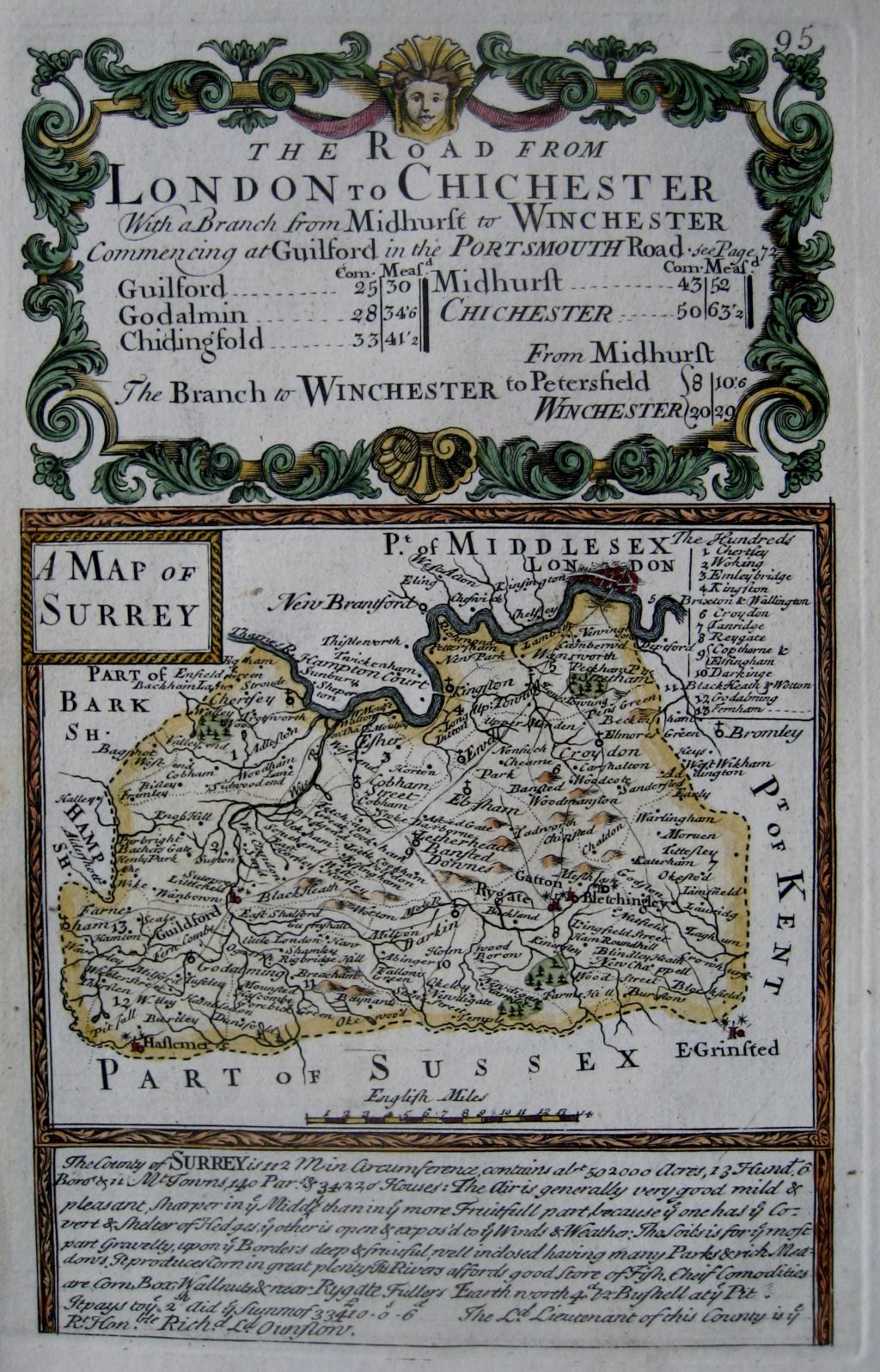 SURREY BY EMANUEL BOWEN & JOHN OWEN C1720